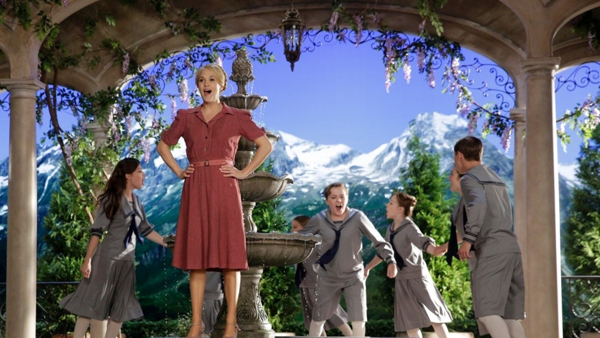"This image released by NBC shows Carrie Underwood, foreground, as Maria, during preparations for ""The Sound of Music Live!"", in Bethpage, N.Y. The live production aired on Dec. 5."