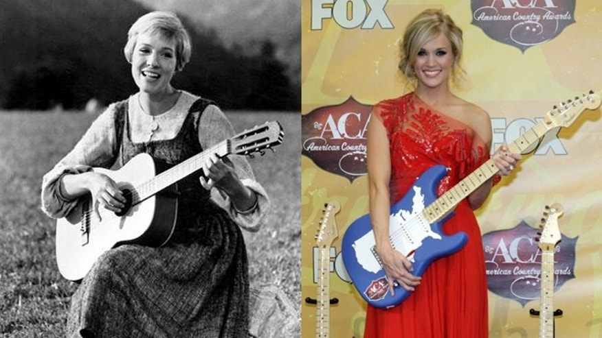 "Julie Andrews, left, is pictured in ""The Sound of Music."" Carrie Underwood, right, will play Andrews' character Maria in a remake of the film."