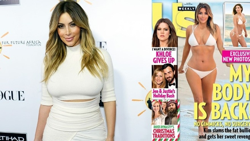 Kim Kardashian in October (left) and on the cover of US Weekly.
