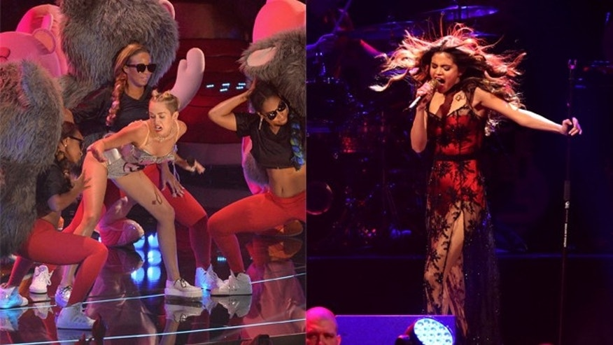 Miley Cyrus (left) during her VMA performance. Selena Gomez (right) performing at the iHeart Radio concert.