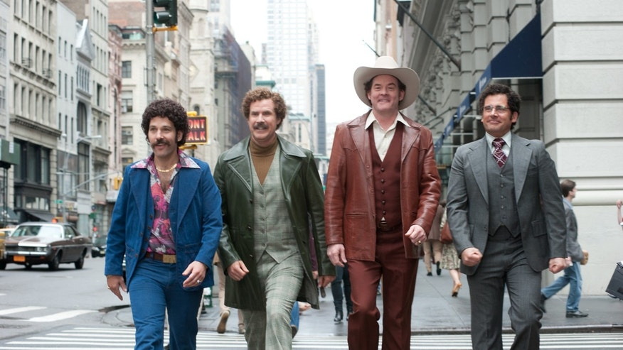 "Paul Rudd is Brian Fantana, Will Ferrell is Ron Burgundy, David Koechner is Champ Kind and Steve Carell is Brick Tamland in a scene from ""Anchorman 2: The Legend Continues."""
