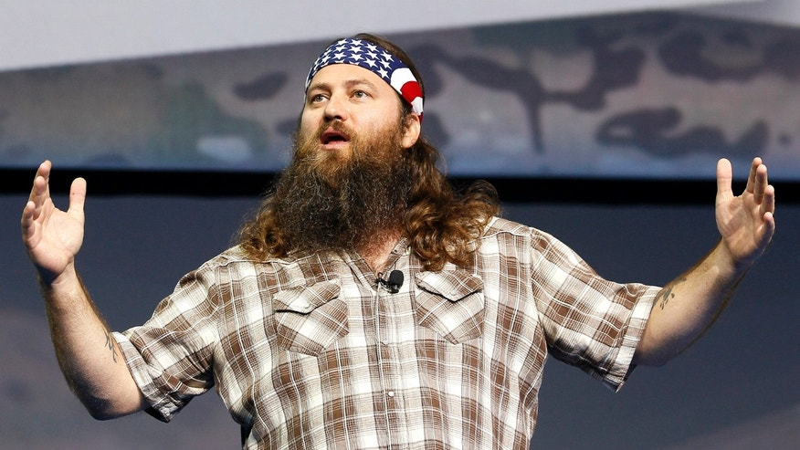 "June 5, 2013. Willie Robertson of the reality television show ""Duck Dynasty"" speaking at the Wal-Mart Stores, Inc. U.S. Associates meeting in Fayetteville, Arkansas."