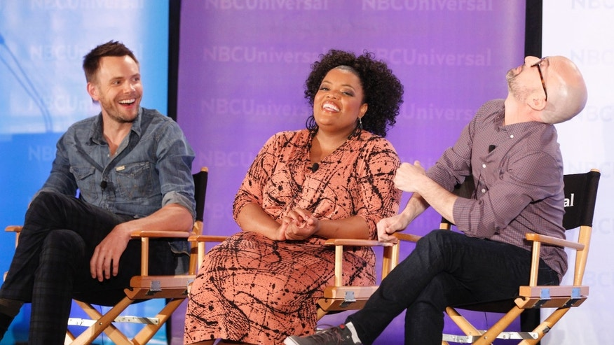 "The stars of the comedy series ""Community"" (L-R) Joel McHale, Yvette Nicole Brown and Jim Rash take part in a panel discussion at the NBC Universal Summer Press Day 2012 introducing new television shows for the summer season in Pasadena, California  April 18, 2012"
