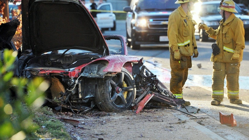 Wreckage of Paul Walker's Porsche on Nov. 30, 2013.