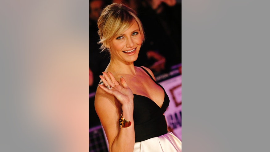 "November 7, 2012. Cameron Diaz arrives for the world premiere of the film ""Gambit"" at Leicester Square in London."