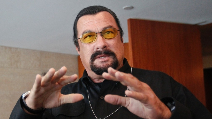 June 2, 2013. Steven Seagal speaks to the media at a news conference in Moscow.