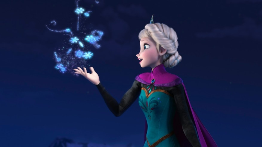 "This image released by Disney shows Elsa the Snow Queen, voiced by Idina Menzel, in a scene from the animated feature ""Frozen."""