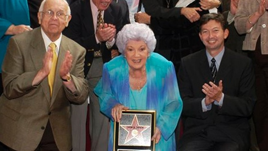 Carmen Zapata receiving her star on the Hollywood Walk of Fame in October 2003.