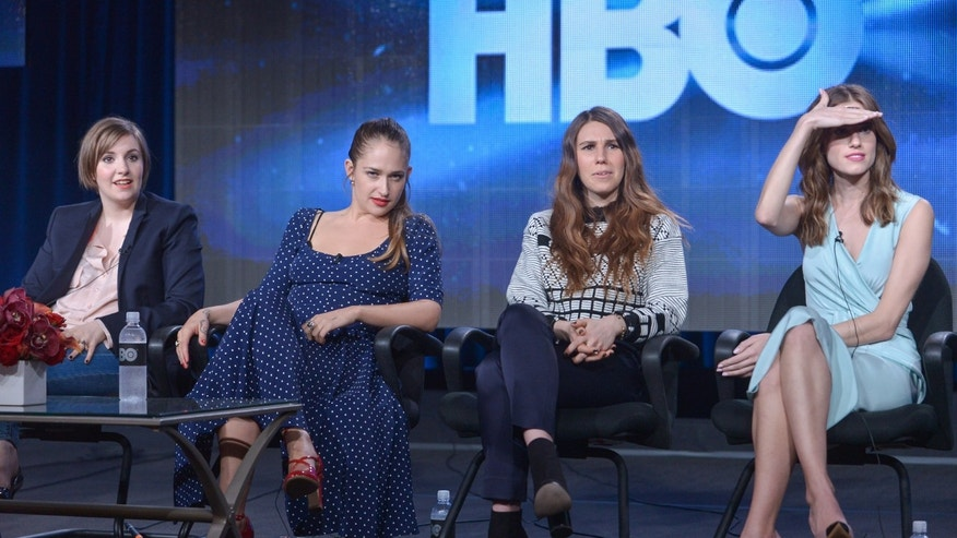 From left, Lena Dunham, Jemima Kirke, Zosia Mamet, and Allison Williams on stage during the Girls panel discussion at the HBO portion of the 2014 Winter Television Critics Association tour at the Langham Hotel on Thursday, Jan. 9, 2014 in Pasadena, Calif. (Photo by Richard Shotwell Invision/AP)
