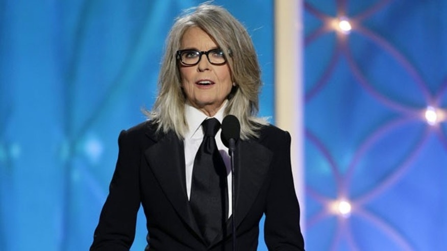 January 12, 2014: This image released by NBC shows Diane Keaton accepting the Cecil B. DeMille award on behalf of Woody Allen during the 71st annual Golden Globe Awards at the Beverly Hilton Hotel in Beverly Hills, Calif. (AP Photo/NBC, Paul Drinkwater)