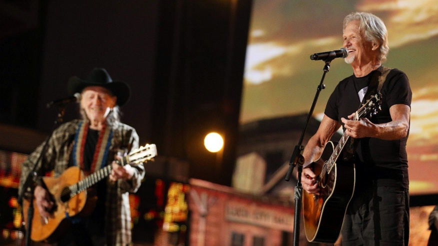 January 24, 2014. Kris Kristofferson, right, and Willie Nelson perform during rehearsals for the 56th Annual Grammy Awards at The Staples Center in Los Angeles.
