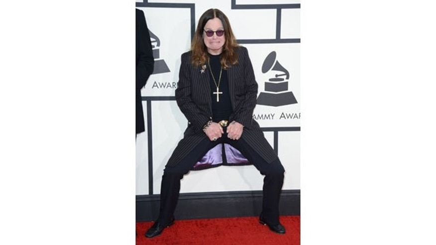 January 26, 2014: Ozzy Osbourne arrives at the 56th annual Grammy Awards at Staples Center in Los Angeles. (Photo by Jordan Strauss/Invision/AP)