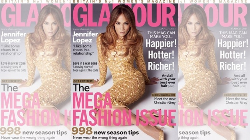 "Jennifer Lopez on the cover of the March issue of ""Glamour UK,"" out on newsstands next week."