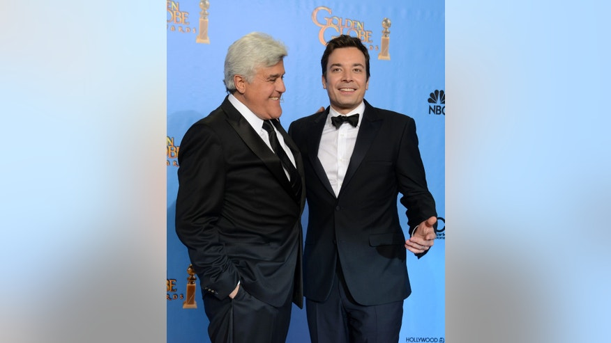 January 13, 2013. Jimmy Fallon, left, and Jay Leno posing backstage at the 70th Annual Golden Globe Awards at the Beverly Hilton Hotel  in Beverly Hills, Calif.