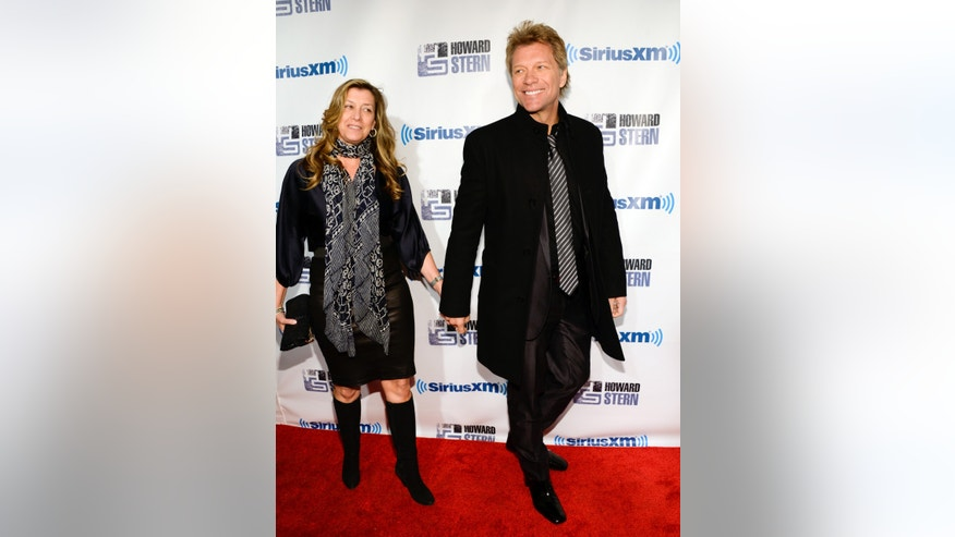 "January 31, 2014. Jon Bon Jovi and wife Dorothea attend ""Howard Stern's Birthday Bash,"" presented by SiriusXM, at the Hammerstein Ballroom in New York City."