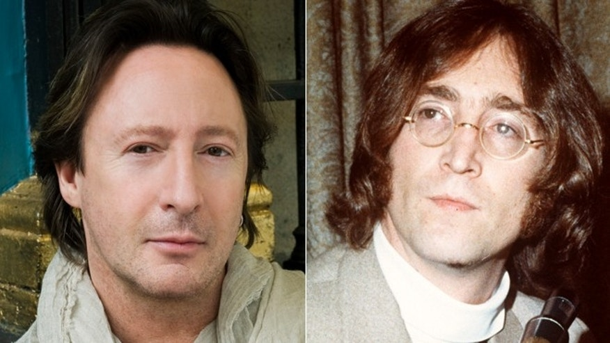 Julian Lennon, left, is shown next to his father John Lennon.