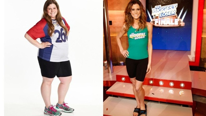 """Biggest Loser"" winner Rachel Frederickson shows off her weight loss with before, left, and after pictures."