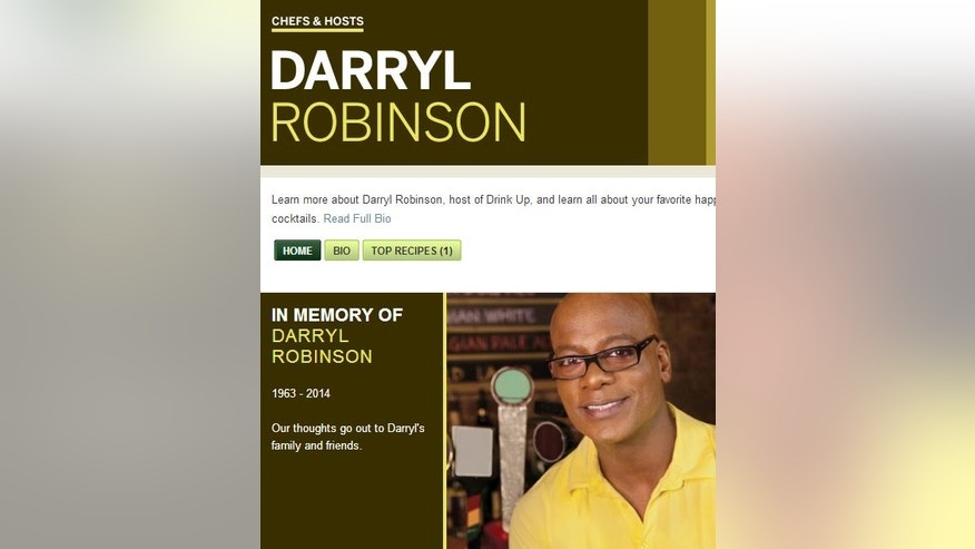 A message on the Cooking Channel's website mourns the loss of host Darryl Robinson.