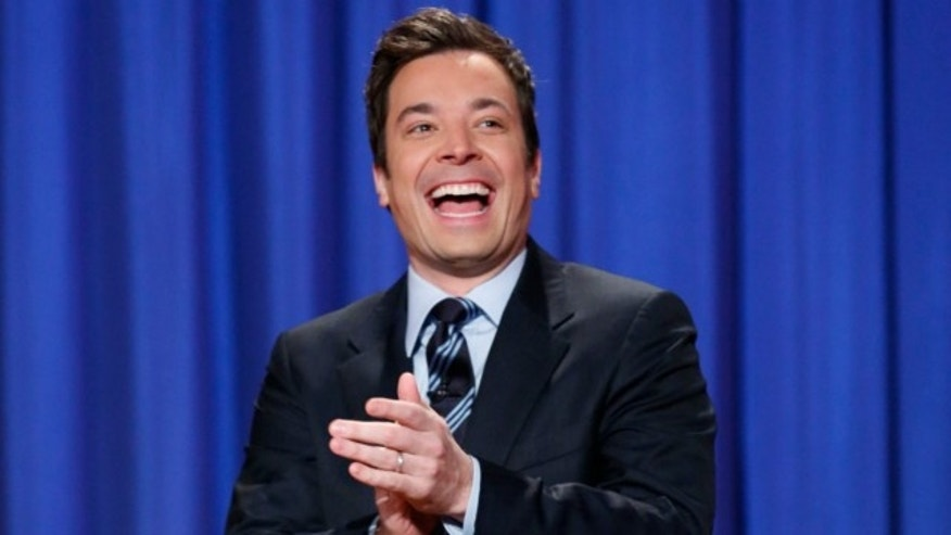 "FILE: April 4, 2013: This photo released by NBC shows Jimmy Fallon, who made his debut as host of his new show, ""The Tonight Show with Jimmy Fallon,"" on Feb. 17."