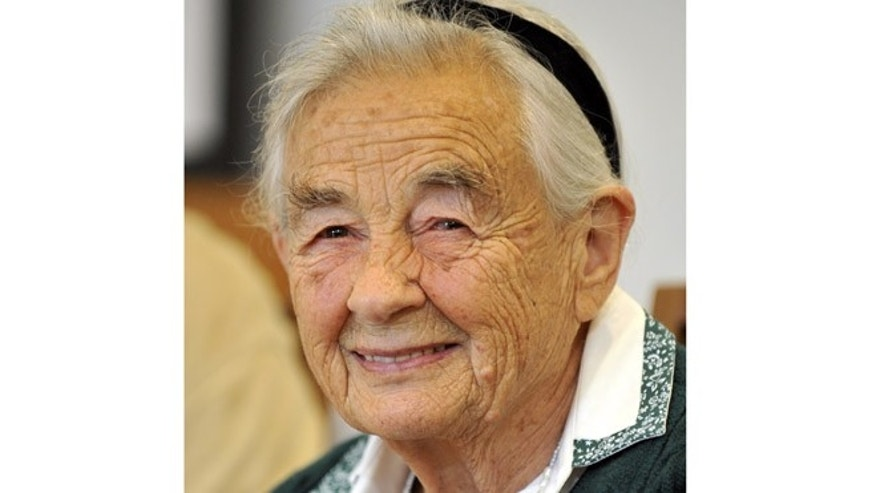 July 25, 2008: This file photo shows Maria von Trapp, daughter of Austrian Baron Georg von Trapp, smiling during a press conference at the Villa Trapp in Salzburg, Austria.