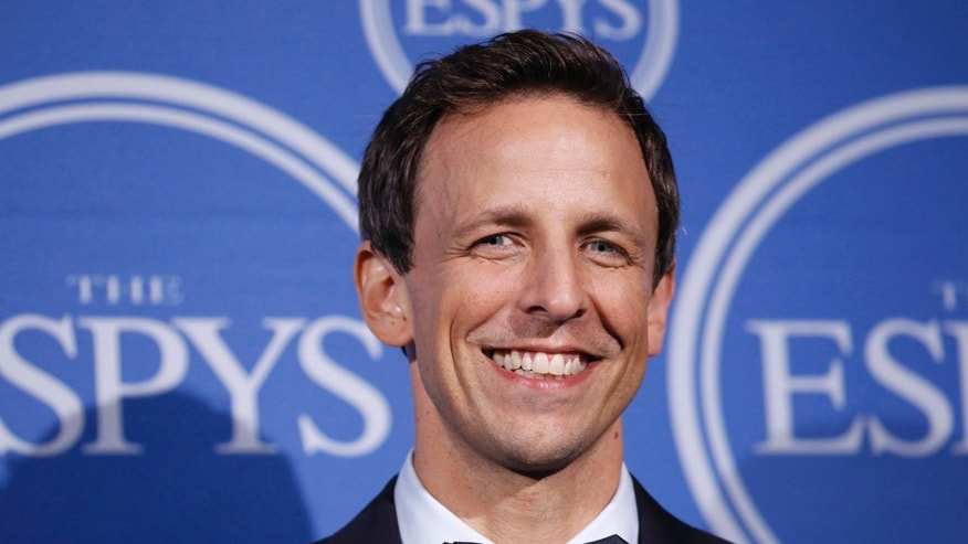 Host Seth Meyers poses backstage after presiding over the 2011 ESPY Awards in Los Angeles, California, July 13, 2011.