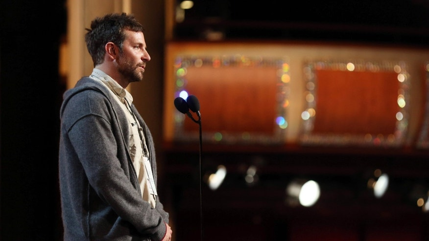 March 1, 2014. Bradley Cooper is seen onstage during rehearsals for the 86th Academy Awards in Los Angeles. The Academy Awards will be held at the Dolby Theatre on Sunday, March 2.