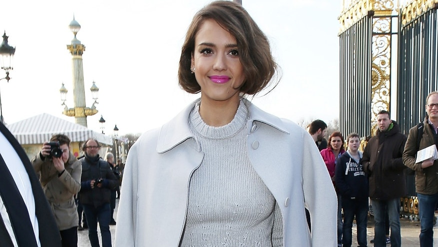 PARIS, FRANCE - FEBRUARY 27:  Jessica Alba attend the Nina Ricci show as part of the Paris Fashion Week Womenswear Fall/Winter 2014-2015 on February 27, 2014 in Paris, France.  (Photo by Pierre Suu/Getty Images)