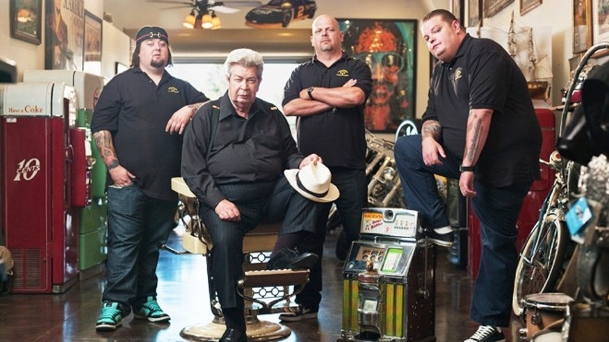 """Chumlee,"" Richard Harrison, Rick Harrison and Corey Harrison appear on ""Pawn Stars."""