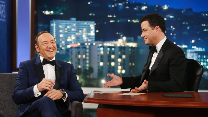 "March 2, 2014. Kevin Spacey appears on the 9th annual &quot ""Jimmy Kimmel Live: After the Oscars"" special in Los Angeles."