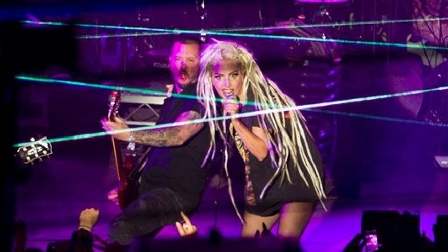 Lady Gaga performs at Stubb's in Austin, Texas, during the South by Southwest Music Festival on Thursday March 13, 2014.   (AP Photo/Austin American-Statesman, Jay Janner)