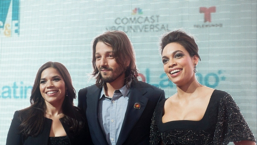 "WASHINGTON, DC - MARCH 18: America Ferrera, Diego Luna and Rosario Dawson attend the ""Cesar Chavez"" premiere at The Newseum on March 18, 2014 in Washington, DC. (Photo by Kris Connor/Getty Images)"