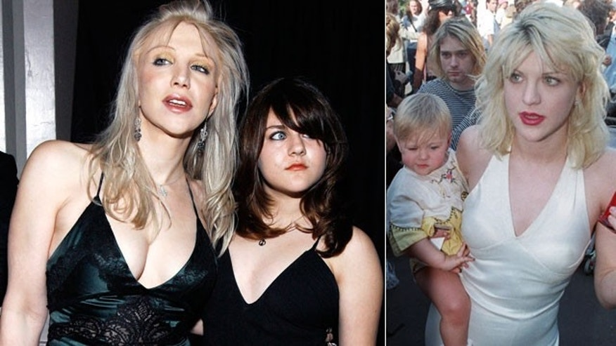 Frances Bean Cobain with mom Courtney Love (l) in 2007 and mom and dad Kurt Cobain (r) in 1994.