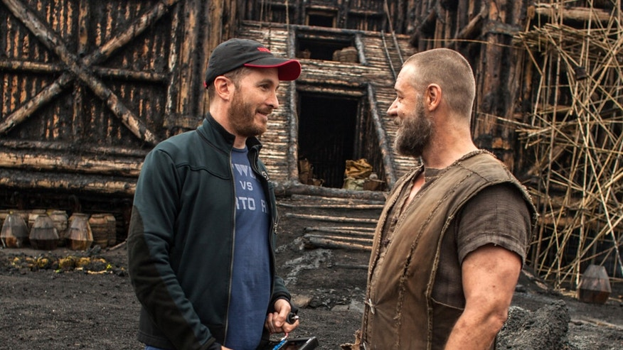 Darren Aronofsky, left, and actor Russell Crowe on the set of, 'Noah.'