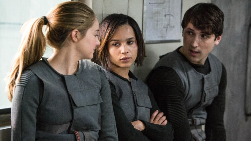 "Shailene Woodley, Zoe Kravitz, and Ben Lloyd-Hughes in a scene from ""Divergent."""