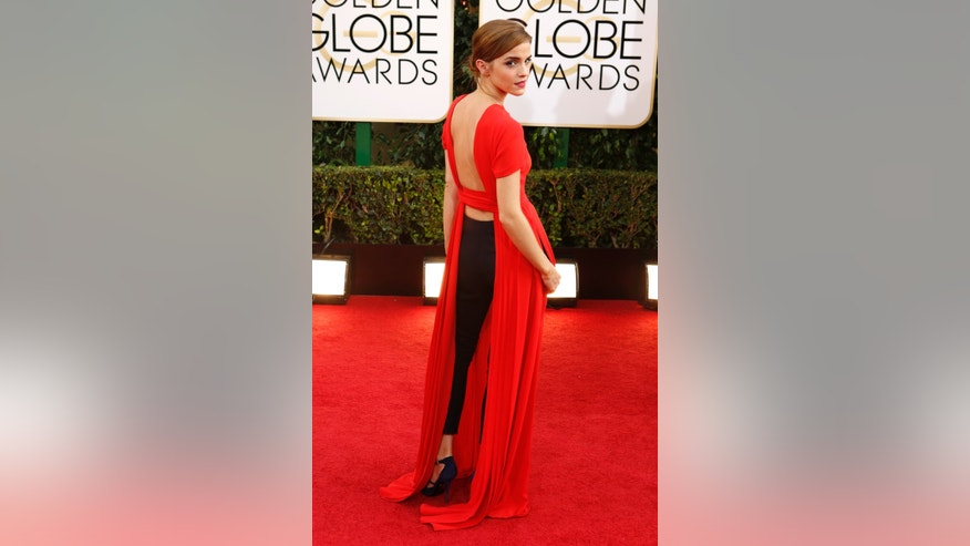 Actress Emma Watson arrives at the 71st annual Golden Globe Awards in Beverly Hills, California January 12, 2014.   REUTERS/Mario Anzuoni (UNITED STATES  - Tags: ENTERTAINMENT) (GOLDENGLOBES-ARRIVALS)  - RTX17BBK