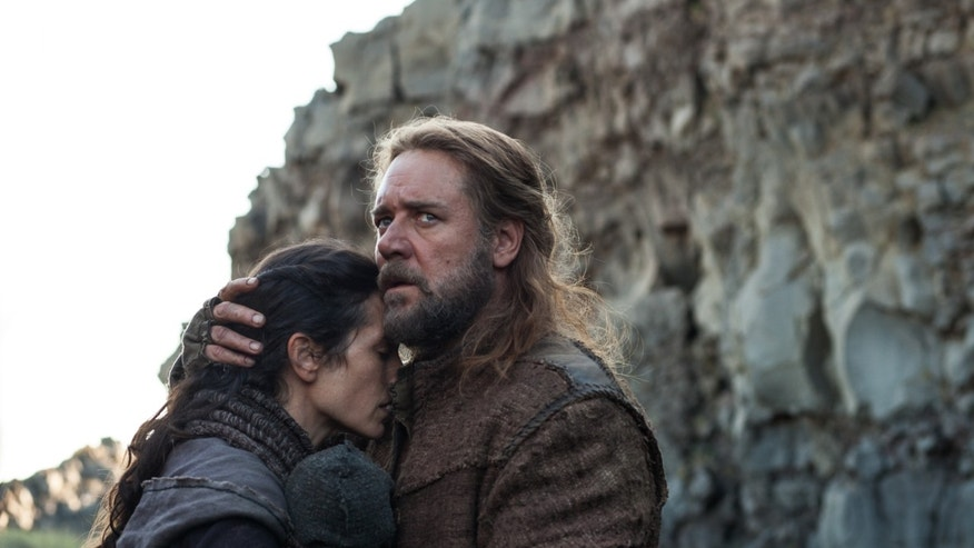 "This image released by Paramount Pictures shows Jennifer Connelly, left, and Russell Crowe in a scene from ""Noah."""