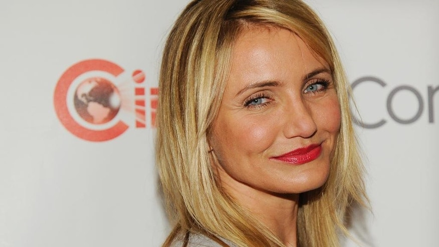 "Cameron Diaz, a cast member in the upcoming film ""The Other Woman,"" poses before the 20th Century Fox presentation at CinemaCon 2014 on Thursday, March 27, 2014, in Las Vegas. (Photo by Chris Pizzello/Invision/AP)"