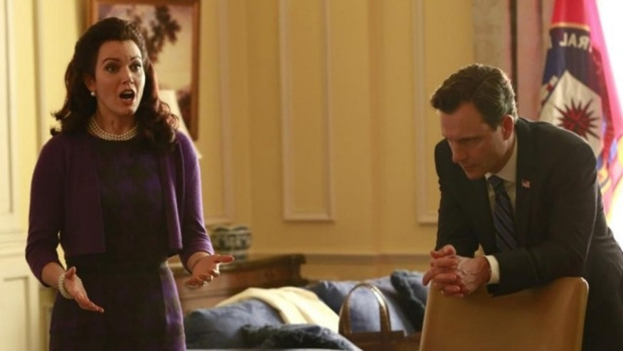 "This image released by ABC shows actress Bellamy Young and actor Tony Goldwyn in a scene from ""Scandal."" The series airs Thursdays at 10 p.m. EST on ABC."