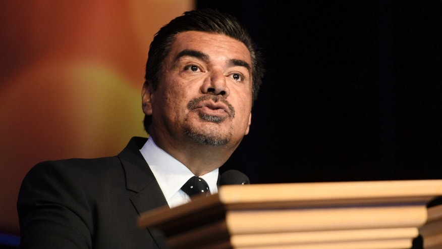 LAS VEGAS, NV - MARCH 24:  Comedian George Lopez speaks during the presentation of International Filmmaker Award to Carlos Saldanha during CinemaCon 2014 at Caesars Palace on March 24, 2014 in Las Vegas, Nevada.  (Photo by Michael Buckner/Getty Images for CinemaCon)