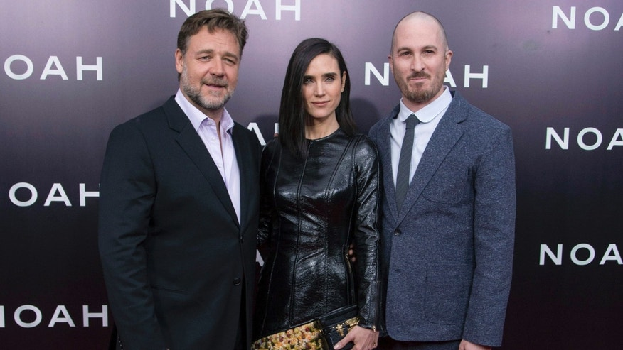 "March 26, 2014. (L-R) Cast members Russell Crowe and Jennifer Connelly pose with director Darren Aronofsky during the U.S. premiere of ""Noah"" in New York."