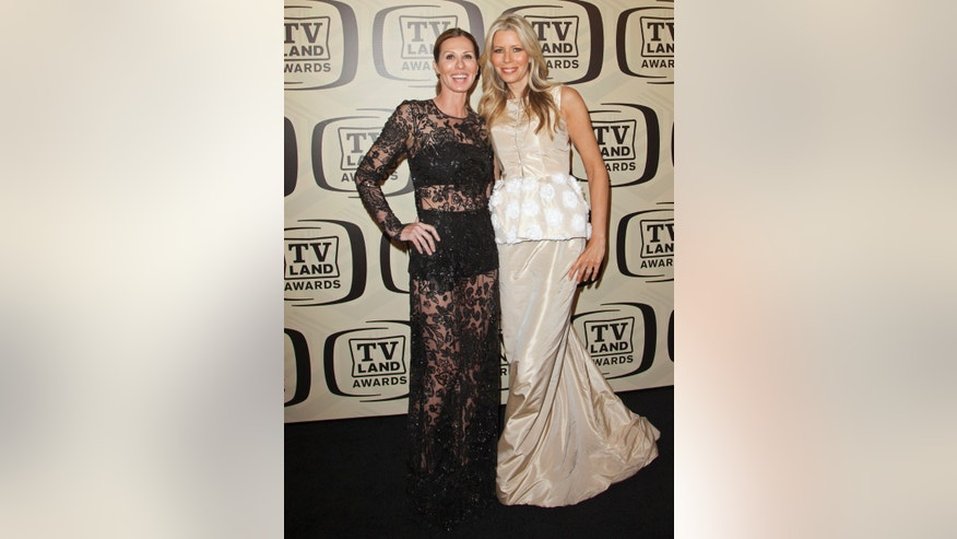 April 14, 2012. TV personalities Carole Radziwill (L) and Aviva Drescher arrive for the 10th Annual TV Land Awards at the Lexington Avenue Armory in New York.