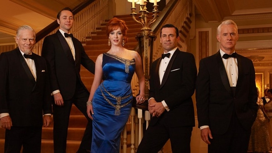"Bertram Cooper (Robert Morse), Pete Campbell (Vincent Kartheiser), Joan Harris (Christina Hendricks), Don Draper (Jon Hamm) and Roger Sterling (John Slattery) appear in ""Mad Men."""