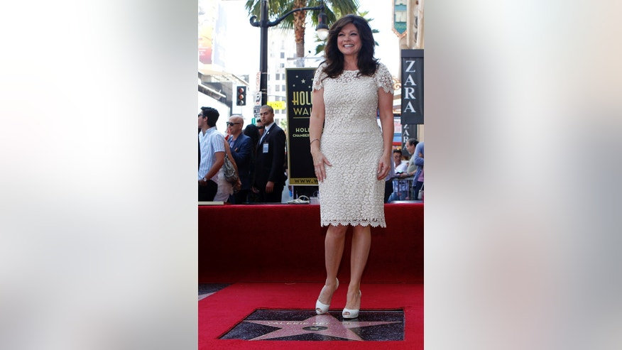August 22, 2012. Actress Valerie Bertinelli stands on her star after it was unveiled on the Walk of Fame in Hollywood, California.