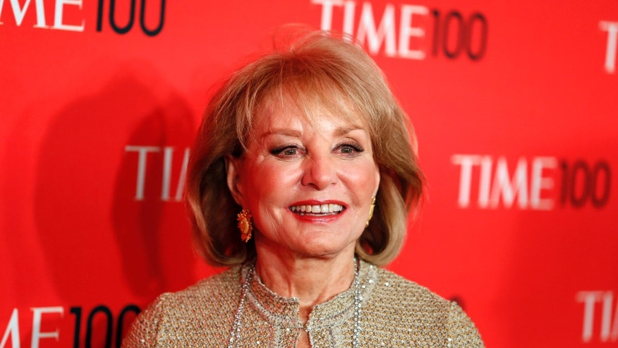 Journalist Barbara Walters arrives for the Time 100 gala celebrating the magazine's naming of the 100 most influential people in the world for the past year, in New York, April 23, 2013. REUTERS/Lucas Jackson (UNITED STATES - Tags: ENTERTAINMENT MEDIA) - RTXYXMO