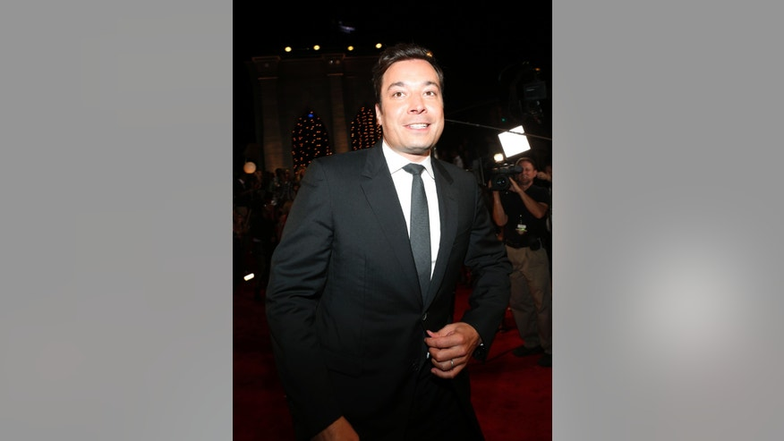 August 25, 2013. Jimmy Fallon poses during the 2013 MTV Video Music Awards in New York.