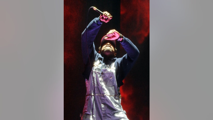 April 11, 2014. Andre 3000 of hip hop group Outkast performs during their headlining set on the first day of the 2014 Coachella Music and Arts Festival.