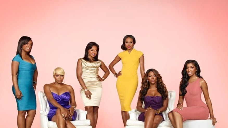 """Real Housewives of Atlanta"" stars (left to right) Kandi Burruss, NeNe Leakes, Phaedra Parks, Cynthia Bailey, Kenya Moore and Porsha Stewart pose."