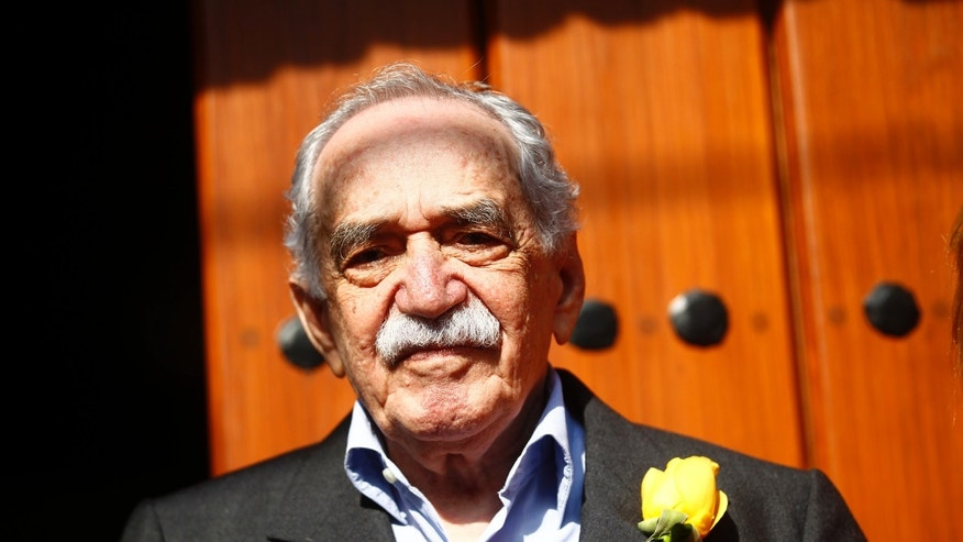 March 6, 2014. Colombian author Gabriel Garcia Marquez stands outside his house on his 87th birthday in Mexico City.