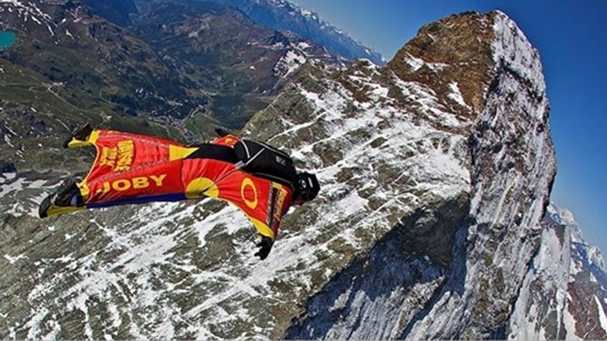 Joby Ogwyn jumps over the peaks of the Matterhorn in Switzerland (2009).