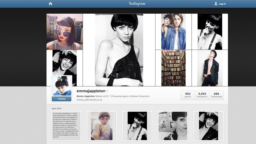 Emma Appleton's Instagram page is shown.